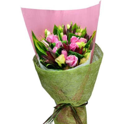 One Dozen Special Pink Color Roses Bouquet, Sleeping Queen  Valentines Day