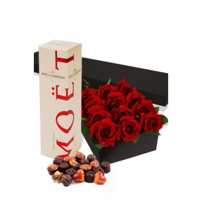 Romance Package , One Dozen Rose in Gift Box, Gift Box Chocolate and 75cl Moet Chondon Champagne